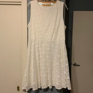 Ivory White dress with lace overlay a-line